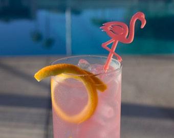 Flamingo Drink Stirrers - Set of 6 Laser Cut Acrylic Swizzle Sticks