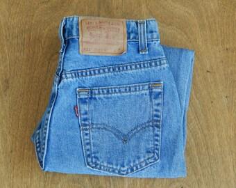 "Vintage High Waisted Denim Levis 521, Made in USA, Petite, Tapered leg, Light denim wash, 26"" waist"