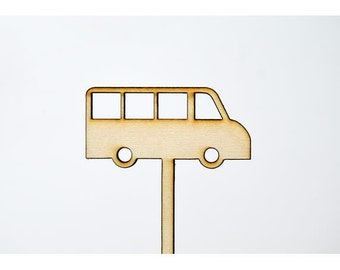 Laser Cut Toppers - Bus - TR-015 - PK of 6 for Cakes, Cupcakes, Donuts and More