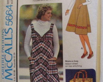 Empire Waist Jumper and Bag Sewing Pattern - McCall's 5664 - Size 12, Bust 34, Uncut