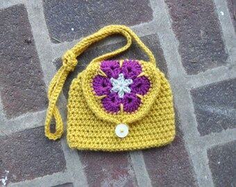 Crochet Yellow and Fuchsia African Flower Bag Crocheted Boho Hippie Nature Small Crossbody Flap Purse
