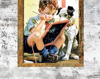 Little Boys Room Art, Boy and Dog Art, First Day  of School Art, Boy Studying Art  #808   FREE SHIPPING