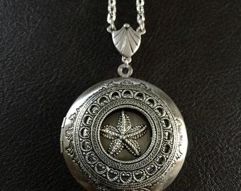 Silver starfish locket, starfish necklace, starfish jewelry, ocean jewelry, starfish gift