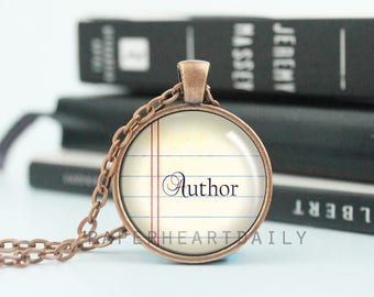Author Pendant - Writer Necklace - Storyteller - Jewelry for Writer - Author Charm Necklace - Gift for Writer - Copper Author - (B4136)