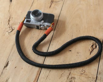 Black 16mm Hand knit Chinese knot handmade Camera neck strap