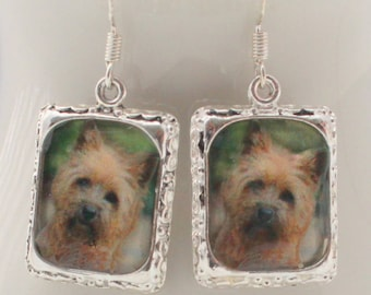 Cairn Terrier Dog Puppy Earrings 3D Picture  Silver Jewelry Dimensional Karin Karen Brown