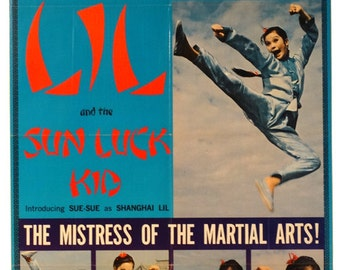 "Shanghai Lil and The Sun Luck Kid.1973 Original 27""x41"" USMovie Poster.Martial Arts Kung Fu Action Movie with Szu Shih(Sue-Sue) and Han Chin"