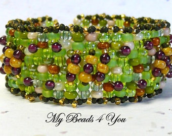Peyote Cuff Bracelet, Beadwork Bracelet, Embellished Beadwoven Bracelet, Seed Bead Bracelet, Gift for Her, Beaded Bracelet, Gift, Seed Beads