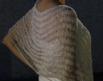 Hand Knitted Poncho, Womens poncho, Beige Poncho