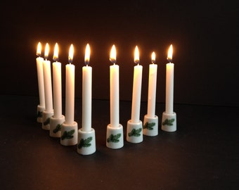 Miniature Thimble Candleholders with Pine Branch