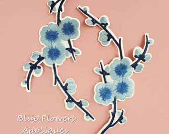 Iron on Blue Flower Patches Appliques, Hot Fix Flower Appliques, Fast Adhesive Flowers