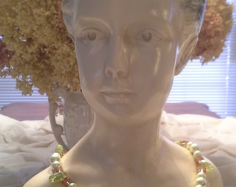 """FREE SHIPPING Amber and Green Glass Pearl Necklace 24"""""""