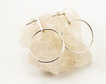Big Circle Hoop  Sterling Silver Earrings