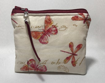 Butterfly Butterflies Dragonfly Coin Purse, Pouch, Mini Wallet, Makes A Great Gift!