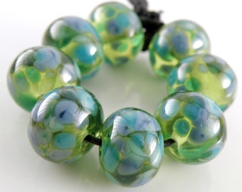 River Dance on Green SRA Lampwork Handmade Artisan Glass Donut/Round Beads Made to Order Set of 8 8x12mm