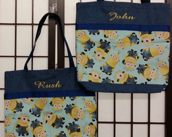 "Tote bags made from Minion cotton fabric, Blue denim or Black canvas fabric bag! 14"" x 14"" x 3"" bag!"
