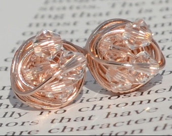 Petite clear crystal Rose Gold Series- clear Swarovski crystal beads and Rose gold Wire Wrapped Stud Earrings