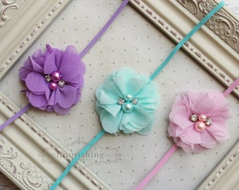 Headband Set- Lavender, Aqua and Pink Headbands, pink headband, newborn headbands, girls headbands, photography prop