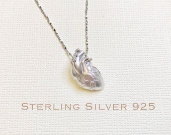 Sterling Silver anatomical heart necklace, heart necklace, nurse necklace, medical gifts,  anatomical heart, nurse gifts. medical jewelry