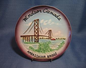 Canada Souviner Plate, collector plate, wall plate, Windsor Canada plate, Ambassador Bridge
