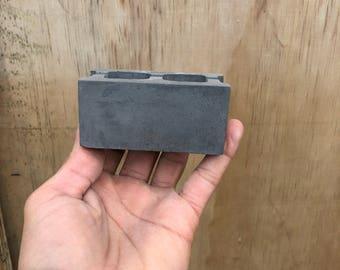 Charcoal Concrete CMU Brick Card Holder Place Setting