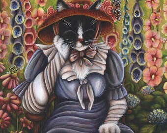 Cottage Garden Cat Reading Book 5x7 Fine Art Print