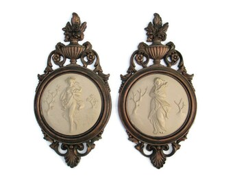 1964 Graceful Grecian Ladies DART IND Coppercraft Molded Hard Plastic Acanthus Leaves Floral Wall Plaques