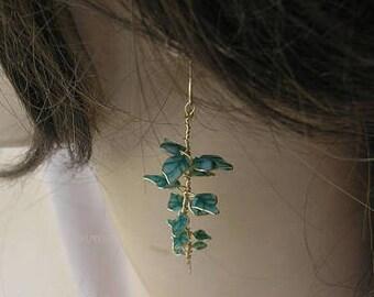 Leaf earrings, Dainty long green earrings, Twig earrings, Plant earrings, Botanical earrings, Long dangle earrings, Nature jewelry, Womens.