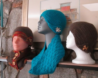 Crocheted Flapper Hat With Cowl - One Size Fits Most