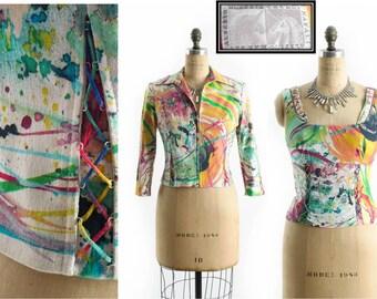 Vintage ALBERTO MAKALI Jacket + Shirt // Corset Jacket // Artist Paint Splatter Coat // Rainbow Coat // Unique Coat // Unique Jacket sz S