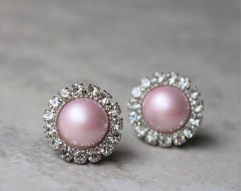 Pink Earrings, Pearl Earrings, Bridesmaid Earrings, Pale Pink Earrings, Bridesmaid Gifts, Bridesmaid Earring Gift, Pink Wedding Jewelry