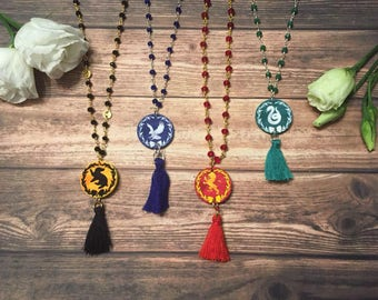 Necklace Hogwarts Houses Inspired - Gryffindor Hufflepuff Ravenclaw and Slytherin Charms and Tassels Gift for Her, Birthday, Valentines Day