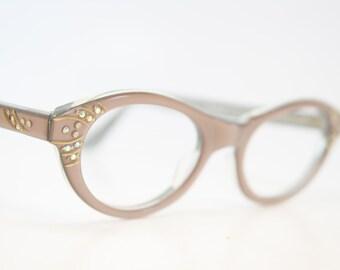 Mink Rhinestone cat eye glasses vintage cateye frames eyeglasses 1960s glasses