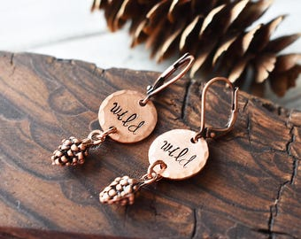 Wild Copper Earrings- Pinecone Forest Elf Earrings- Cute Copper Pinecones Jewelry - Wild Stamped Boho Charm Jewelry- Leverback Earrings