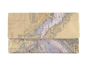 CA: Benicia, CA Nautical Chart Clutch, Map Clutch Bag, Map Purse