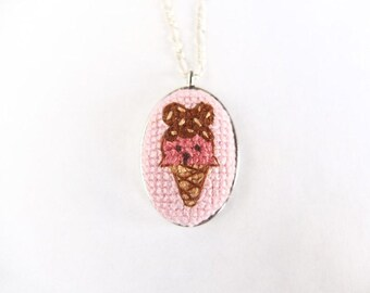 Bear Ice cream cone cross stitch necklace, strawberry ice cream cone necklace, embroidery necklace, gifts for her, summer, gifts for girls