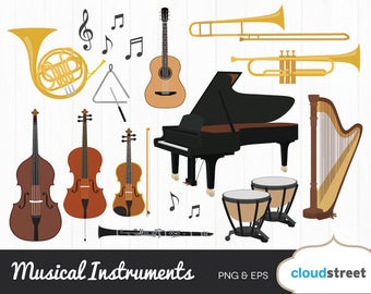 BUY 2 GET 1 FREE musical instruments clipart / musical instrument clip art / music clipart / piano violin harp guitar vector clipart