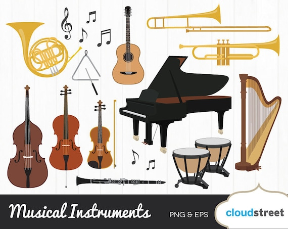 buy 2 get 1 free musical instruments clipart musical instrument rh etsystudio com instruments clipart instrument clipart