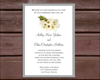 100 Calla Lily Wedding Invitations, RSVP's, Reception Insert w/ FREE Calendar Stickers