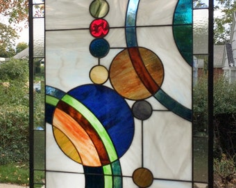 "Stained Glass Window Panel--Galaxy 1 Large 36.5"" x 18.75"""
