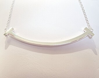 Double T Bar necklace - Smile Necklace - Curved Bar necklace- Sterling Silver*