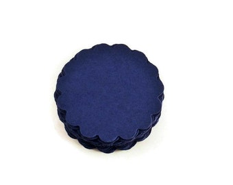 Two Inch Scalloped Circles Paper Die Cut  2 inch  Circles  in  Navy Blue Quantity 50