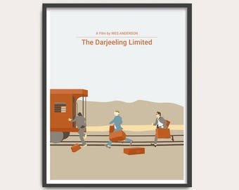 NEW! The Darjeeling Limited, Wes Anderson movie poster, minimalist Movie Print, film poster art.