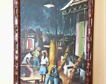 "Original Vintage Oil on canvas Haitian Painting ""Night in Haiti"" by Franklin M Joseph, Surreal Voodoo Haitian art, Large Painting Framed art"
