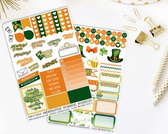 St. Patrick's Day Weekly Vertical Planner Stickers Kit 842L1-2