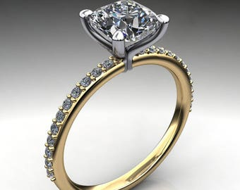 shay ring - 2 carat cushion cut NEO moissanite engagement ring
