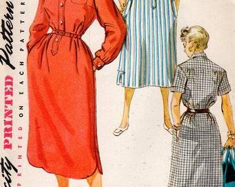 FREE US SHIP Original Uncut Sewing Pattern Vintage Retro 1950s 50s Simplicity 4761 Step In Tab Shirt Dress Flared Hem Interest Bust 32