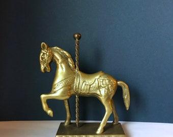 Brass Carousel Horse Figurine - Vintage Merry Go Round Nursery Decor - Carnival Circus Decor