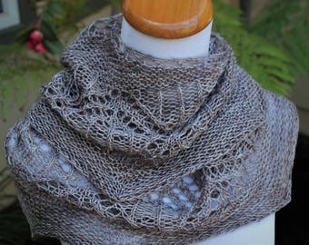 Heathered Gray FLW Hand Knit Pure Merino Wool Crescent Shaped Lace Shawlette or Shawl