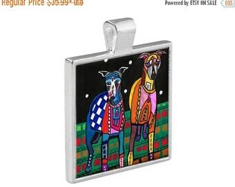 SALE ENDING- Greyhounds  Necklace Dog Folk Art Jewelry - Pendant Metal  Gift Art Heather Galler Gift-  Dog Lovers Abstract Modern Vegan Gi